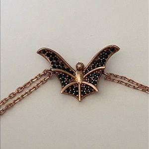 Silver bat bracelet black cz pink gold plated